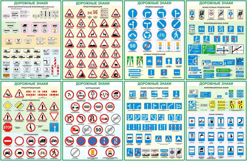 Скачать дорожные знаки формата а4