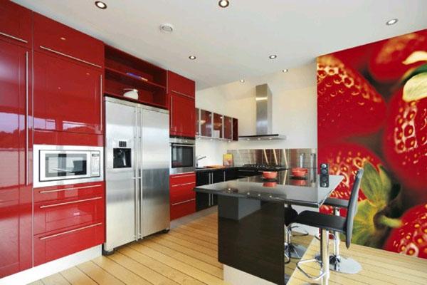 Пример фотообоев на кухне
